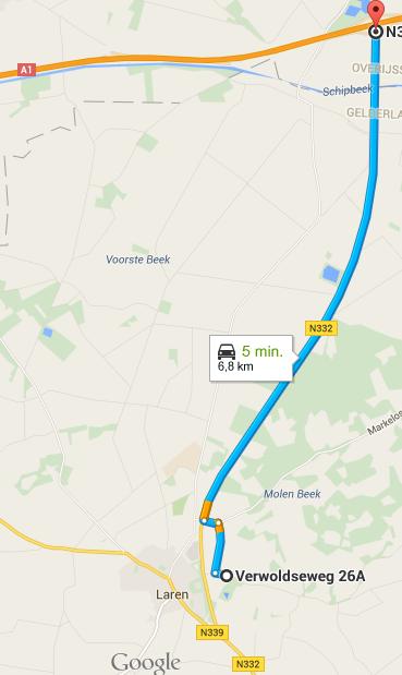 De route die je moet volgen vanaf de A1